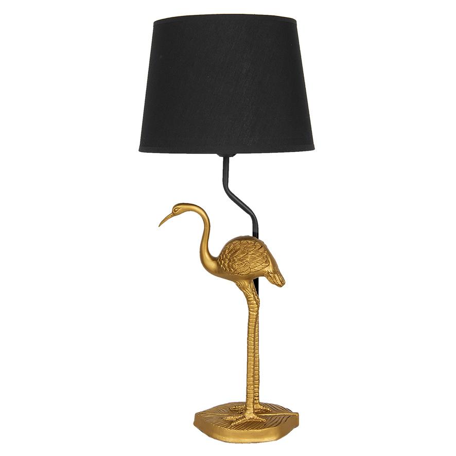 Gouden kraanvogel tafellamp met zwarte kap