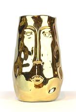Gouden hoofd vaas van keramiek