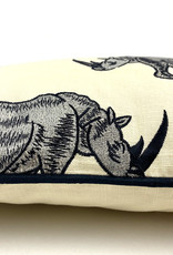 Luxe sierkussen met neushoorn decoratie