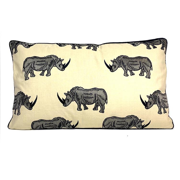 Luxury sofa cushion with rhino decoration