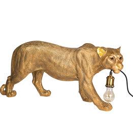 Gold leopard lamp