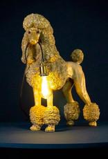 Large gold poodle dog lamp