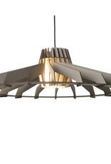 Grote houten design hanglamp als bouwpakket
