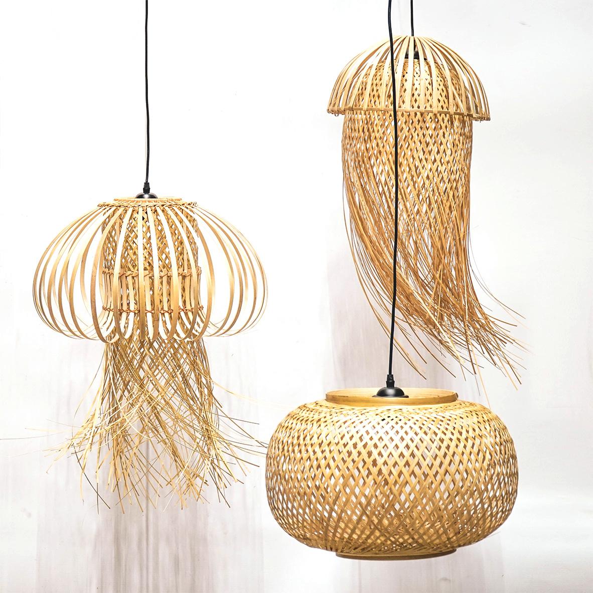 Design hanglamp van bamboe hout