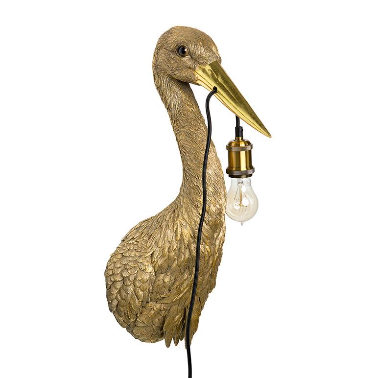 Gold heron bird wall light