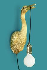 Gold crane bird wall light