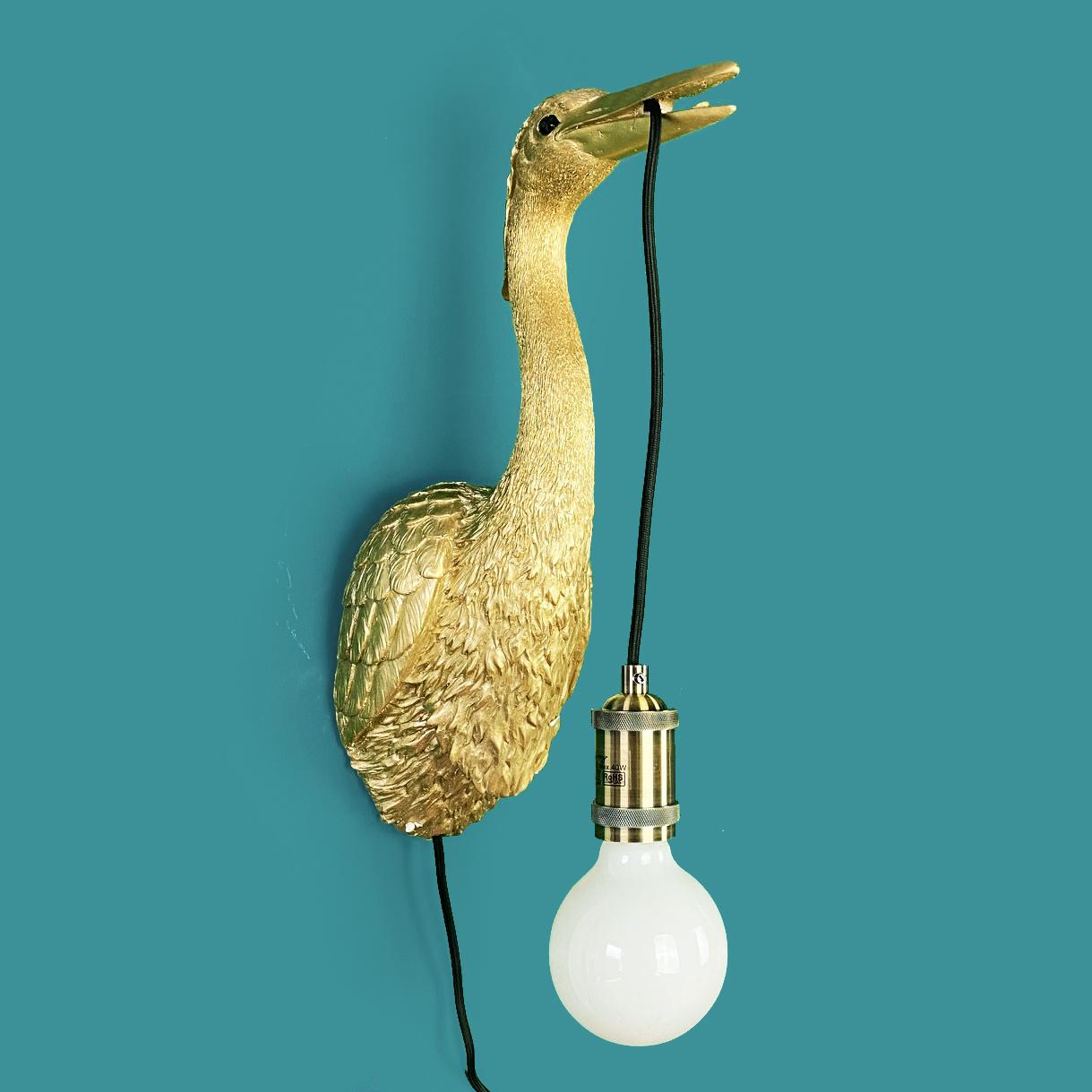 Gouden kraanvogel wandlamp