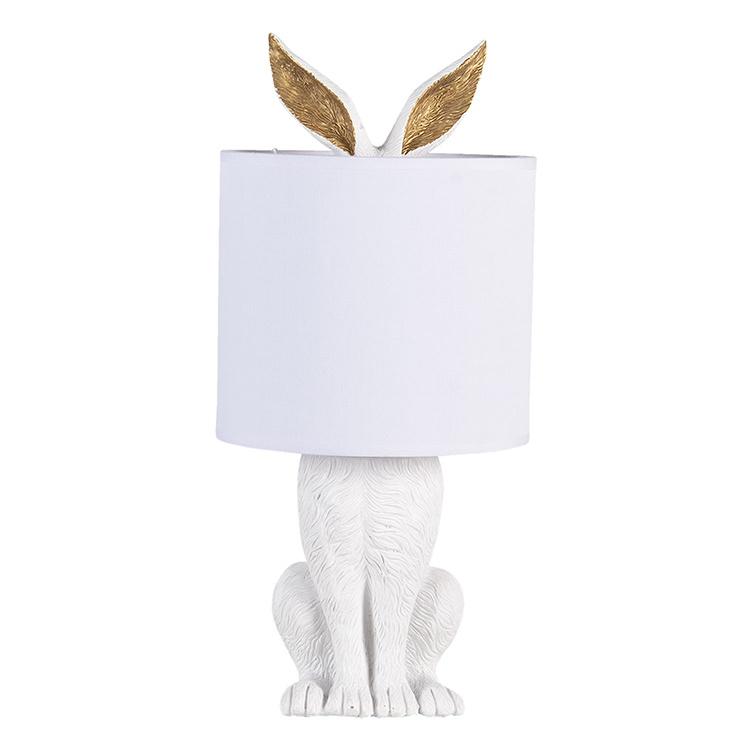 White hiding bunny lamp