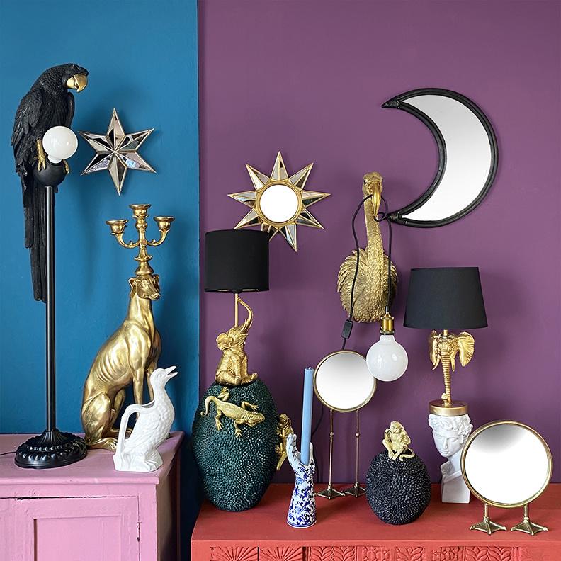 Gold flamingo wall light