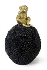 Zwarte voorraadpot met gouden aap