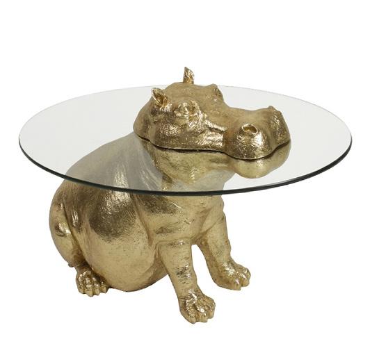 Gouden hippo nijlpaard bijzettafel