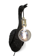 Black crane bird wall light