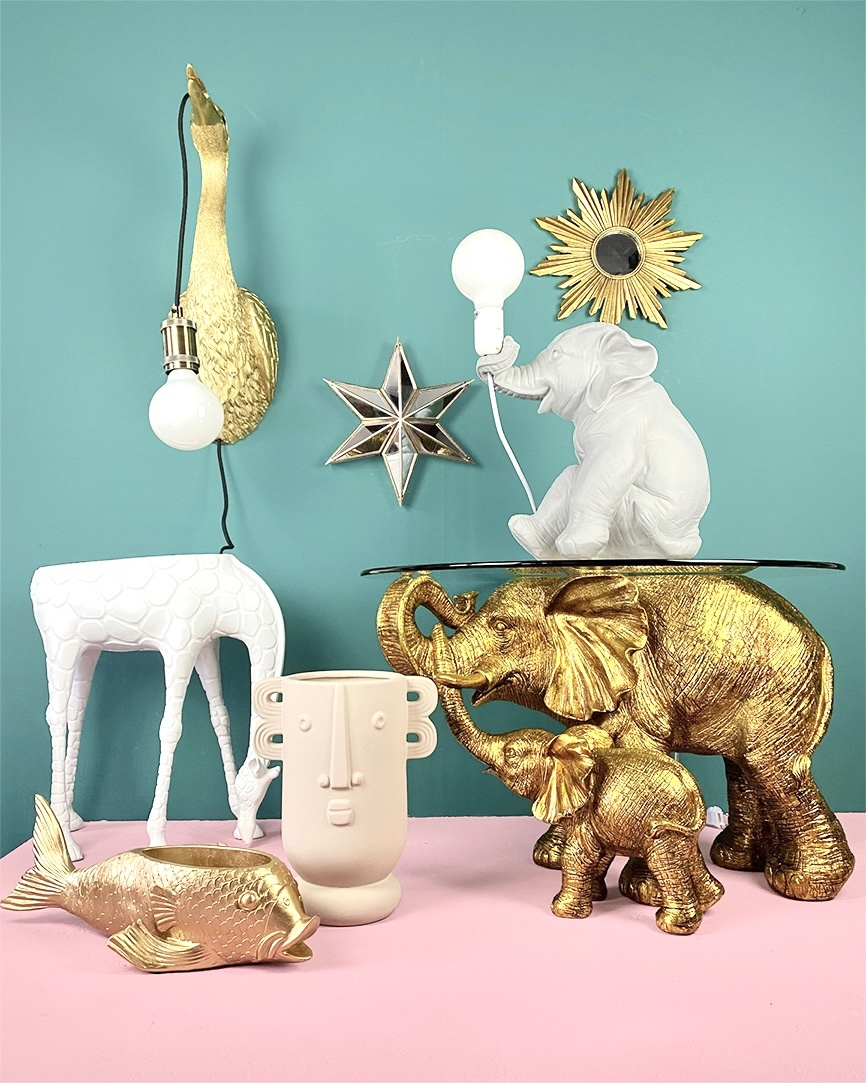 Grey elephant childrens room table lamp