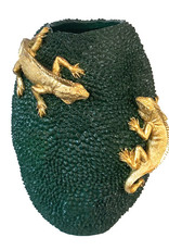 Large green vase with gold lizards