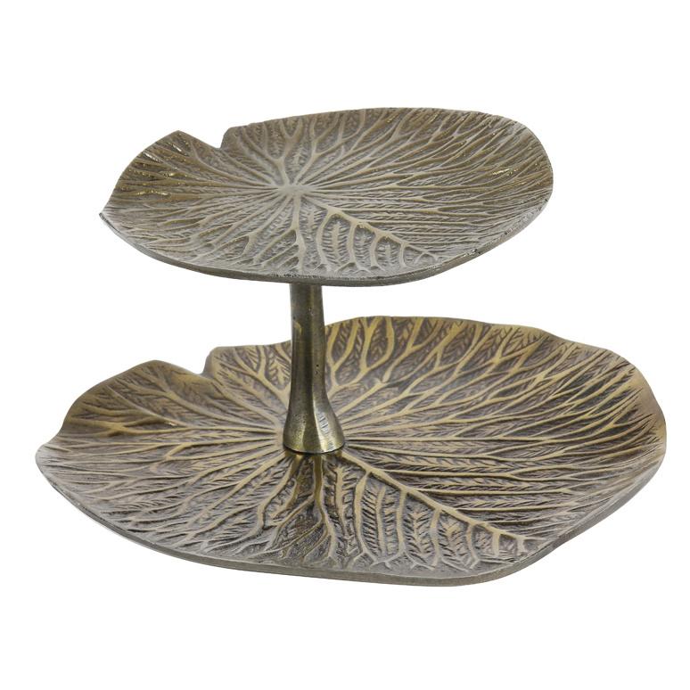 Bronze water lily leaves étagère