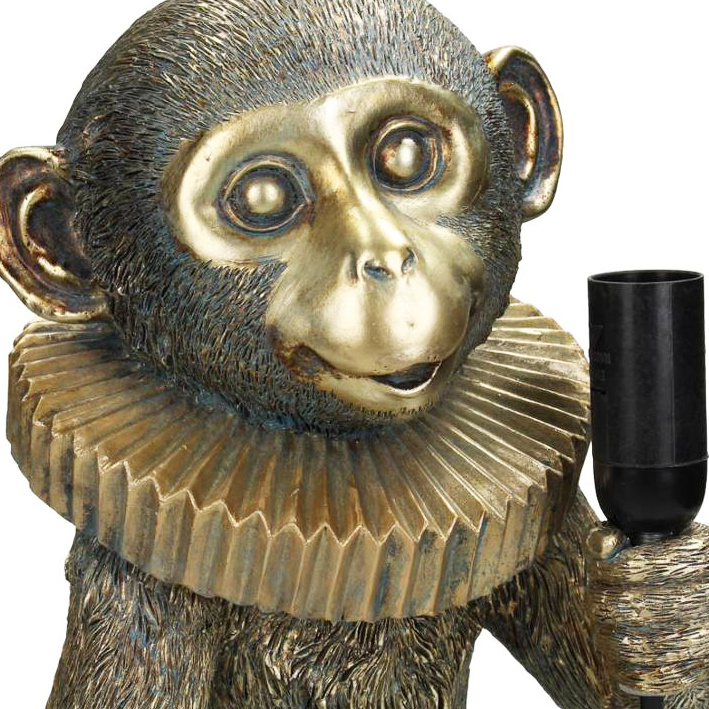 Gold circus monkey table lamp