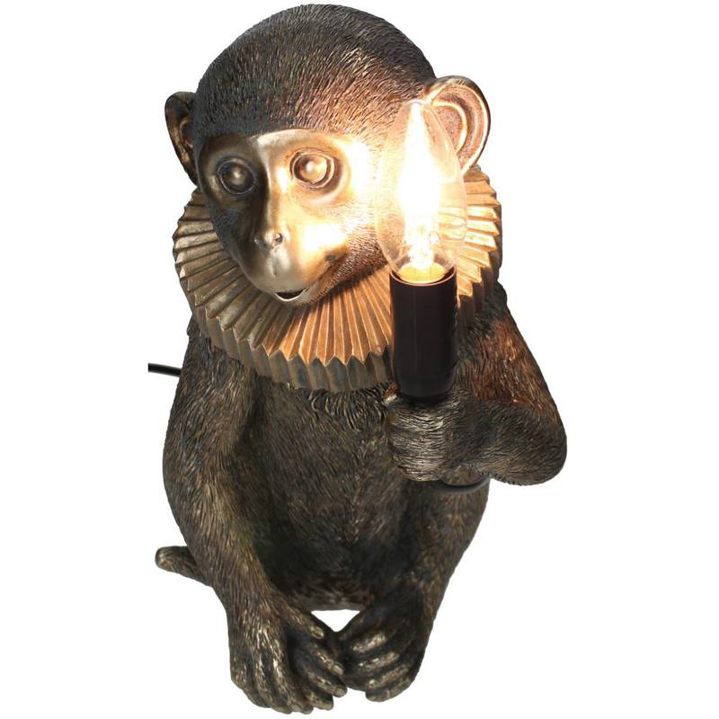 Gouden circus aap tafellampje