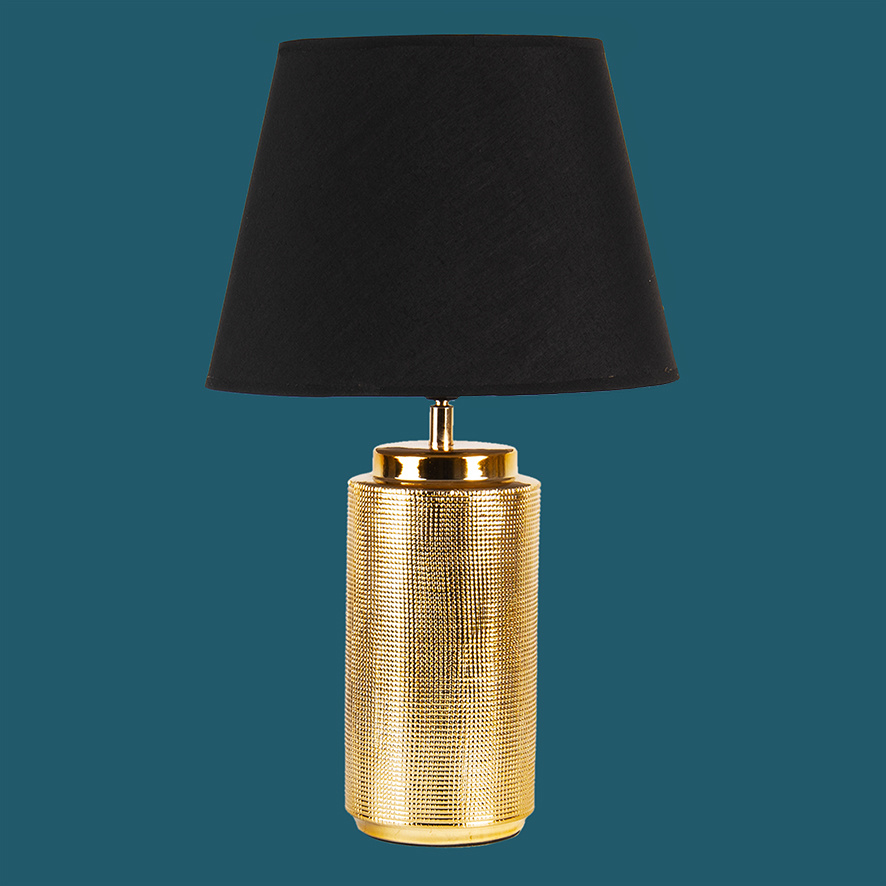 Gold table light with black shade