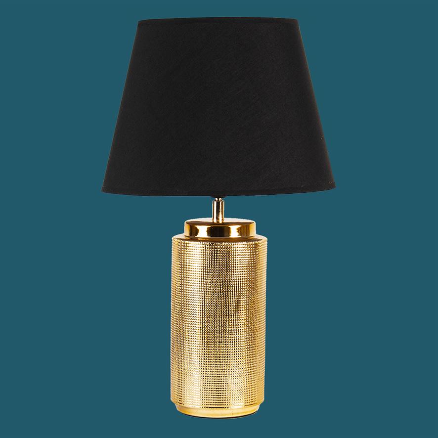 Luxe gouden tafellamp met zwarte kap
