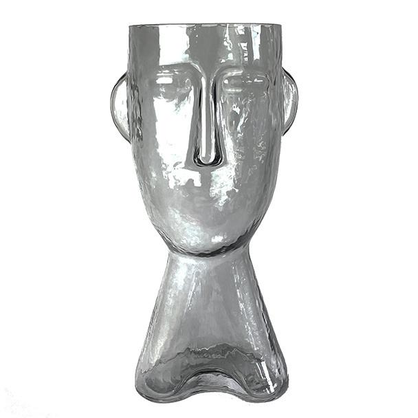 Design vaas van glas in de vorm van een hoofd
