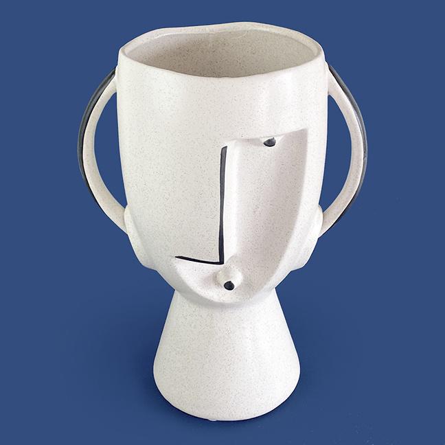 Large ceramic art brut head planter
