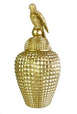 Grote gouden voorraadpot met papegaai decoratie