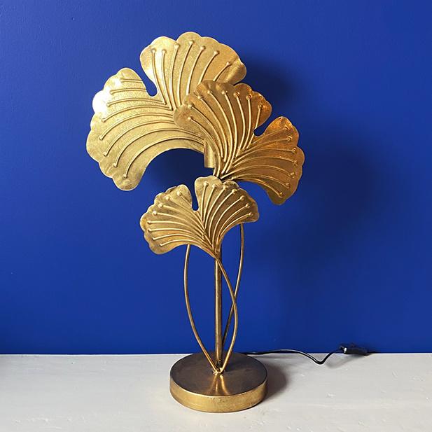 Gouden ginkgo bladeren tafellamp