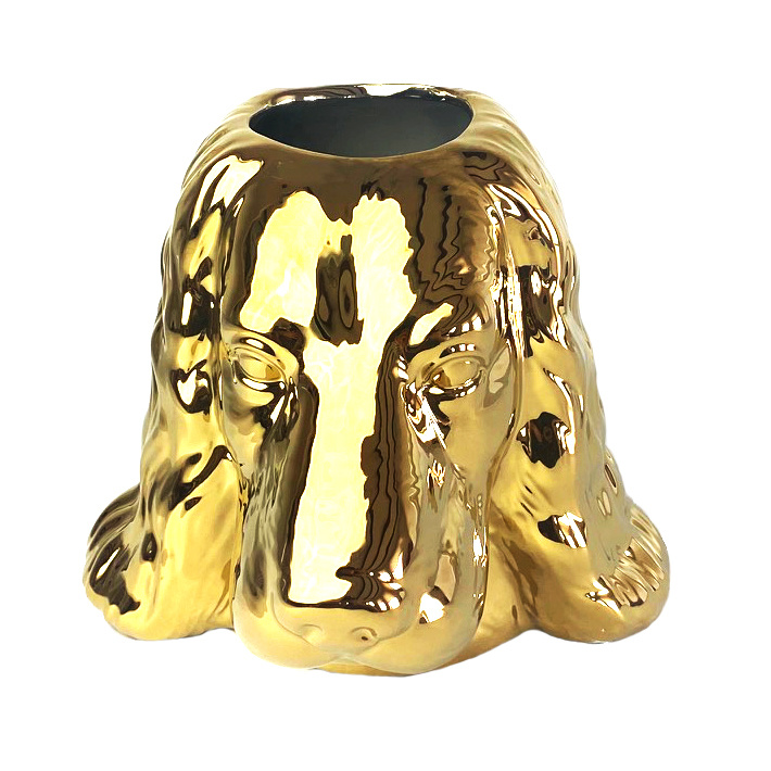 Gold ceramic poodle vase or planter