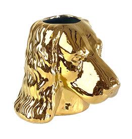 Gold poodle vase
