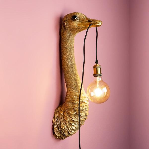 Gold ostrich wall light