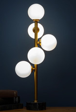 """Gold table lamp with white globes """"Laika"""""""