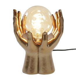Gold hands lamp
