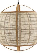 Grote bol design hanglamp van bamboe hout en linnen