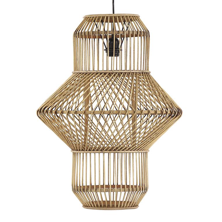 Hoge design hanglamp van bamboe en rotan hout