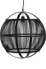 Black bamboo wood suspension lamp