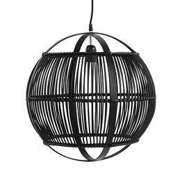 Zwarte bamboe lamp - S