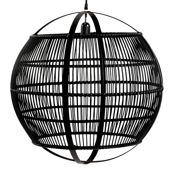 Zwarte ronde bamboe hout hanglamp