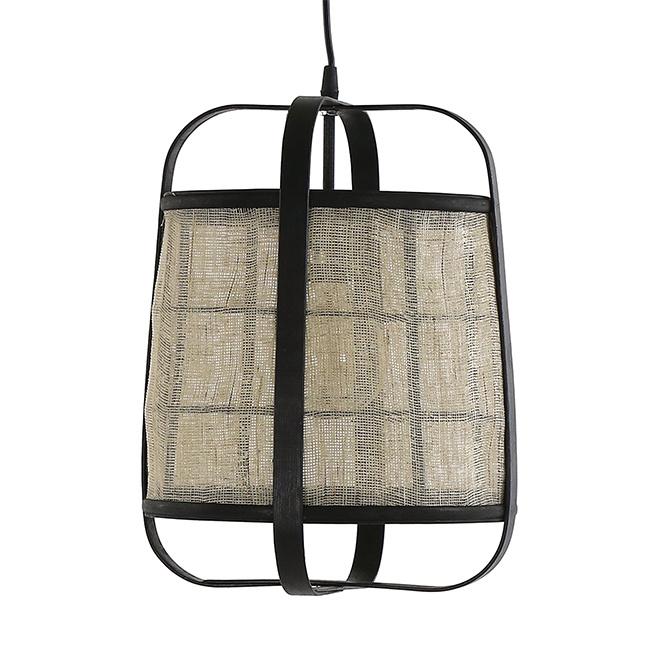 Design hanglamp van linnen stof en bamboe hout