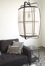 White linen fabric and bamboo wood lamp