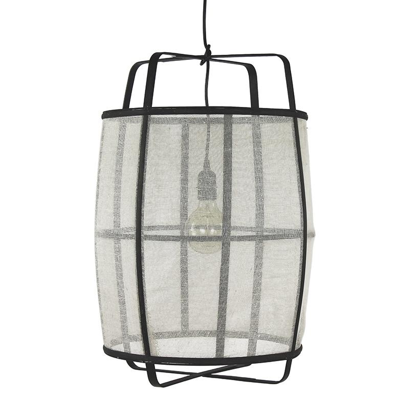 Design hanglamp van wit linnen stof en bamboe hout
