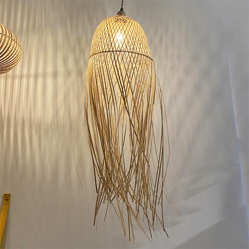 Bamboo wood jellyfish lamp