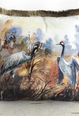 Fluweel sierkussen met kraanvogel print en franjes - Copy