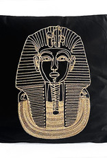 Zwart fluweel sierkussen met gouden farao
