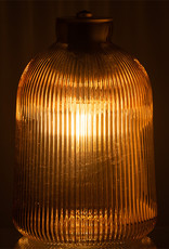 Brown glass table lamp on batteries