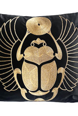 Black velvet with gold scarab cushion