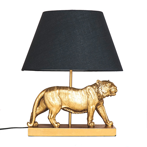 Gold lion table lamp with black light shade