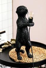 Zwarte stokstaart aap tafellamp