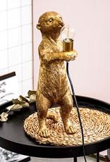 Gouden stokstaart aap tafellamp