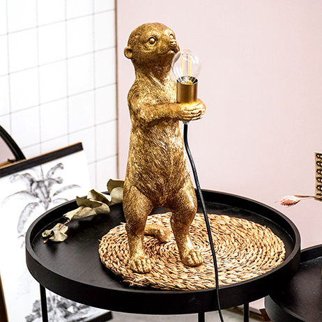 Gold meerkat monkey table lamp