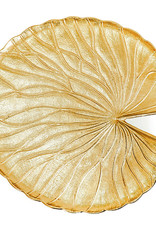 Gold water lily leaf side table